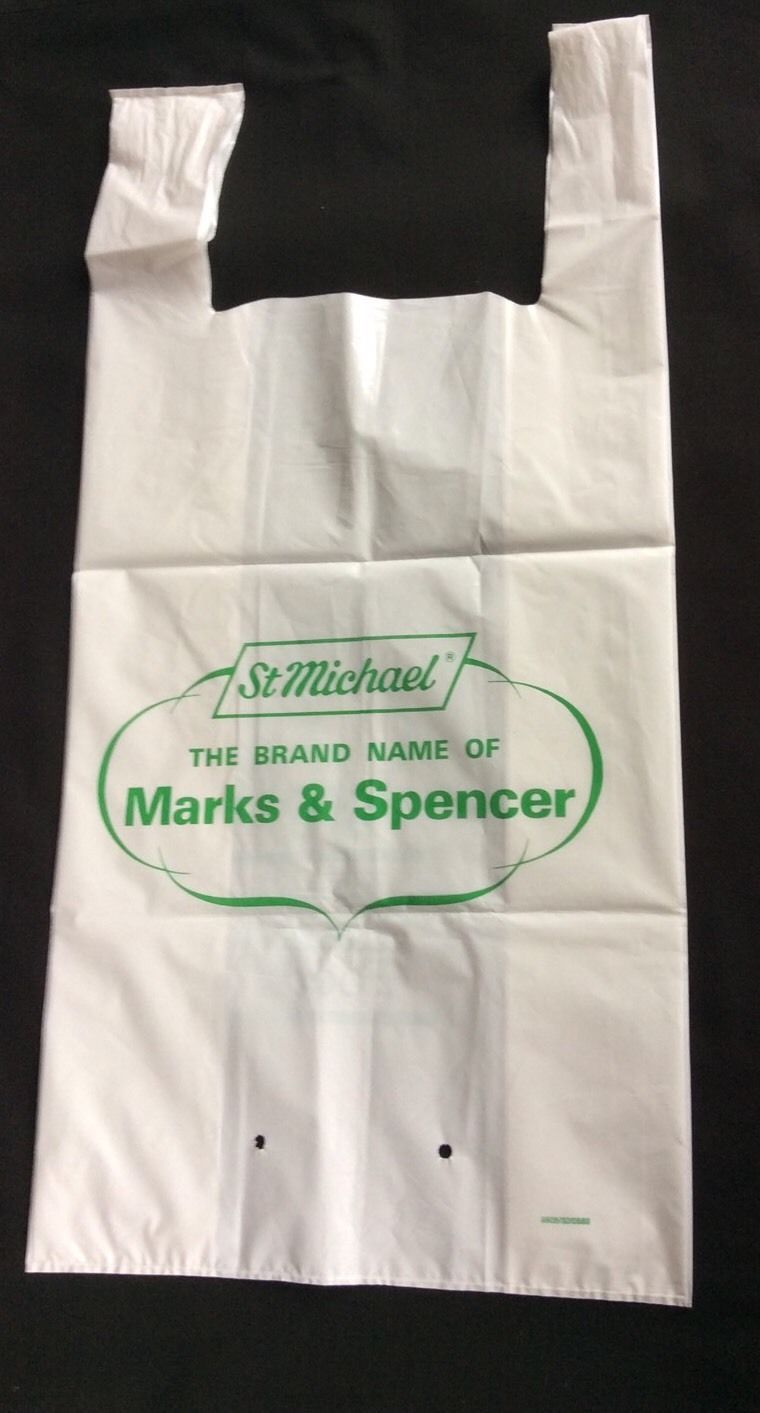 White apron marks and spencer - M S Carrier Bag 1980s