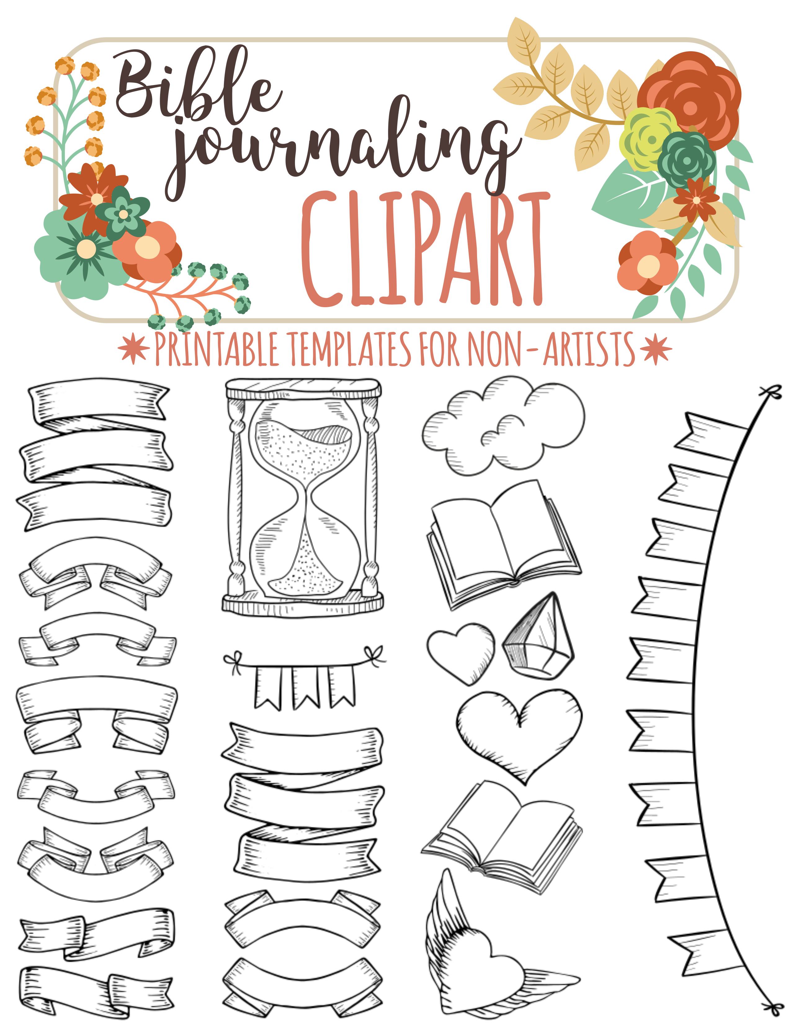 bible journaling printable clipart for non artists just print trace  [ 2550 x 3300 Pixel ]