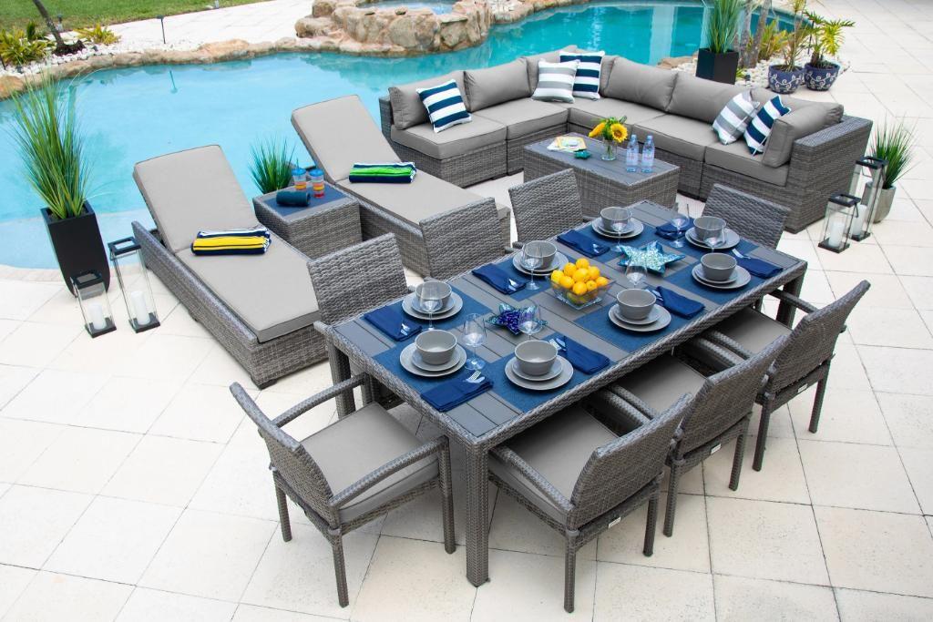 Sorrento 19 Piece Outdoor Patio Furniture Combination Set In Gray Furniture Combinations Outdoor Patio Furniture Outdoor Patio