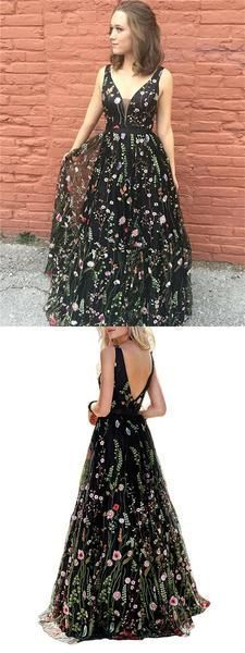 Floral Prom Dresses, A-line Prom Dresses, V-neck Prom Dresses, Long Prom Dresses from Beautiful bride