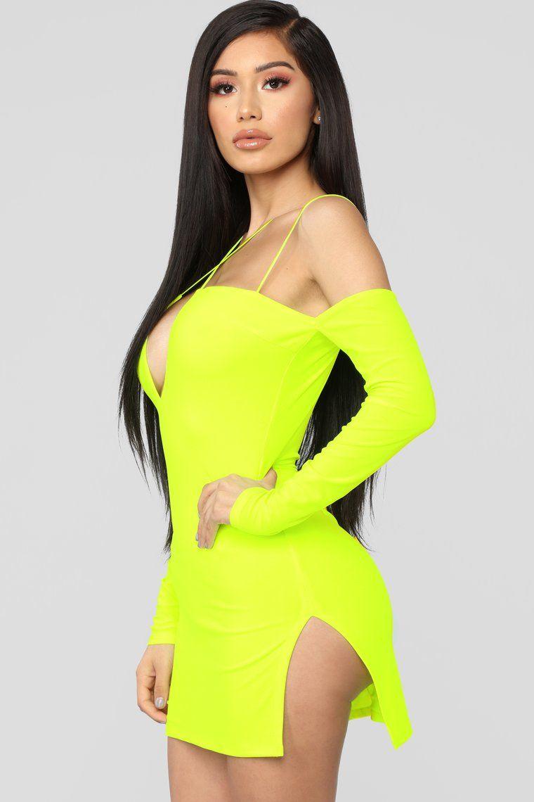Highlight Of My Day Mini Dress Neon Yellow Mini dress