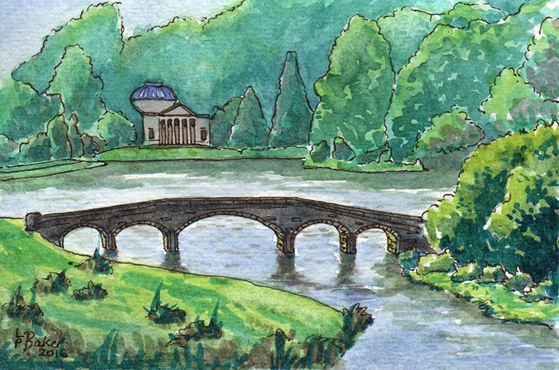 "Stourhead estate, showing the bridge and the Temple of Flora. Pen and watercolour on paper, 6x4"", painted by me."