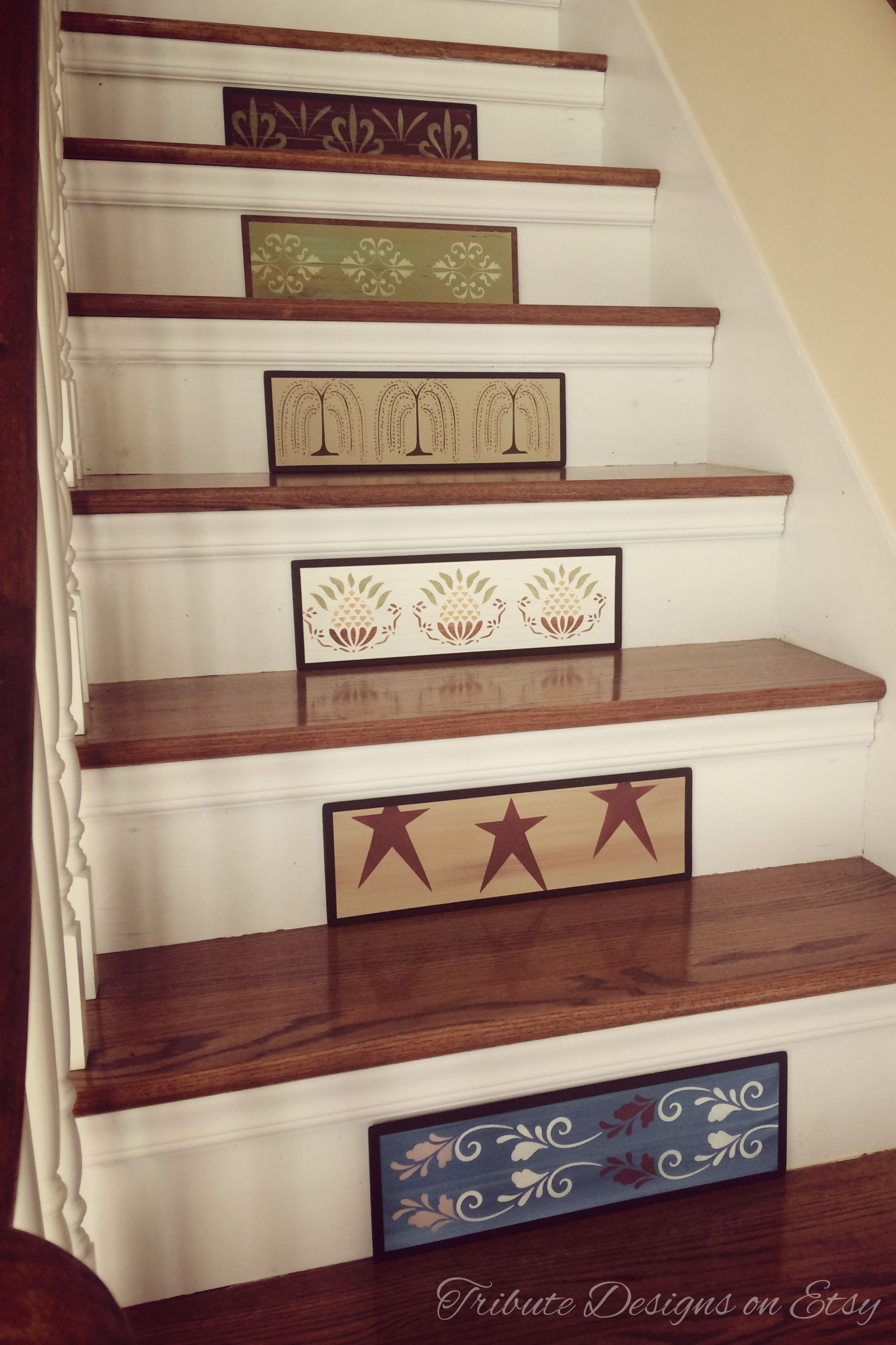 Primitive Decor Rustic Decor Stair Riser Staircase Stair Ideas Stair Makeover Www Tributedesigns Painted Stairs Primitive Decorating Stair Makeover