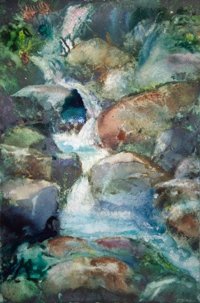Waterfall Stage 2 Treated Paper Workshop My Paintings