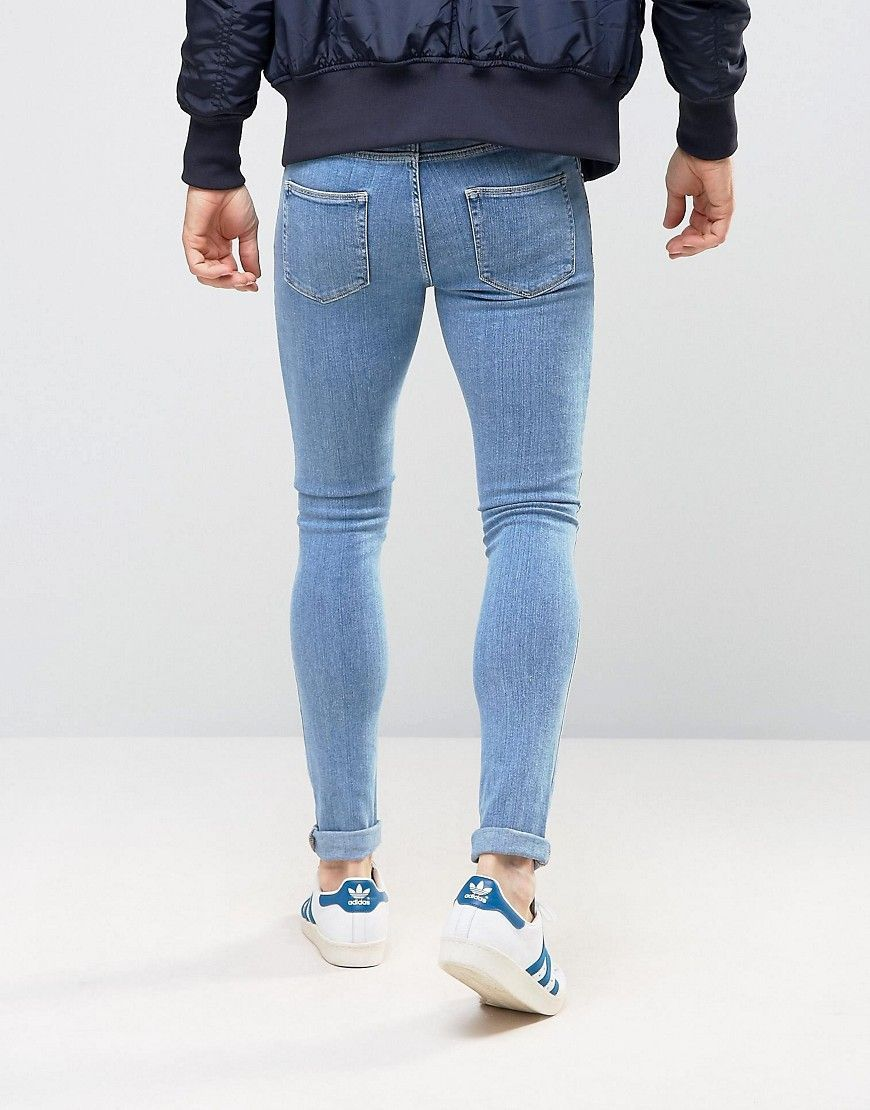 ed1e7667955 DESIGN extreme super skinny jeans in light blue in 2019 | school ...