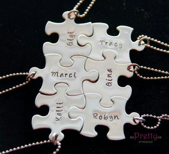 Graduation Gift Unique Personalized For Friends Bff Hand Stamped Necklace Add As Many Puzzle Pieces Needed They All Fit Together