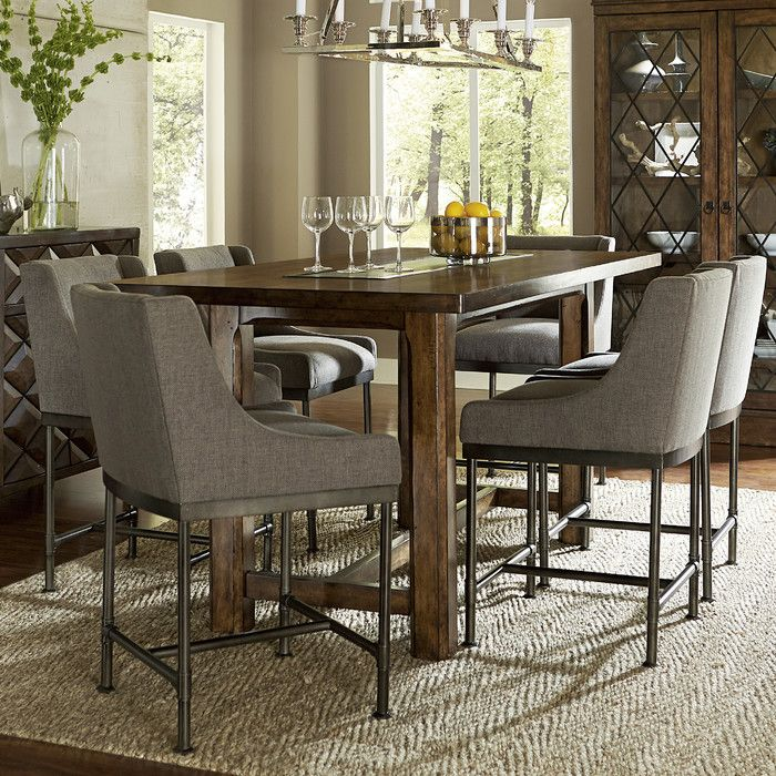 A Rectangular, Hammered Metal Insert Adds Modern Flair To The Solid Lines  Of This Counter Height Dining Table.
