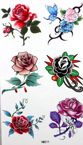 King Horse Waterproof temporary tattoos affixed men and women fashion sexy variety of roses