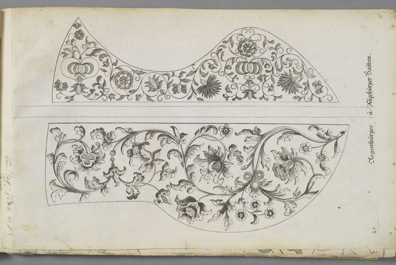 Design plate from Kunst- und Fleiss-ubende Nadel-Ergotzungen (ink on woven paper), by Margaretha Helm, 1720 Object Name: German embroidery ...