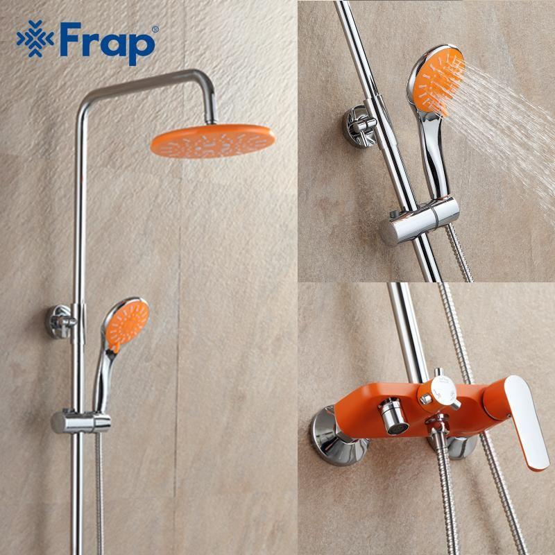 Frap 1 set Orange Bathroom Shower Set Brass Chrome Wall Mounted ...