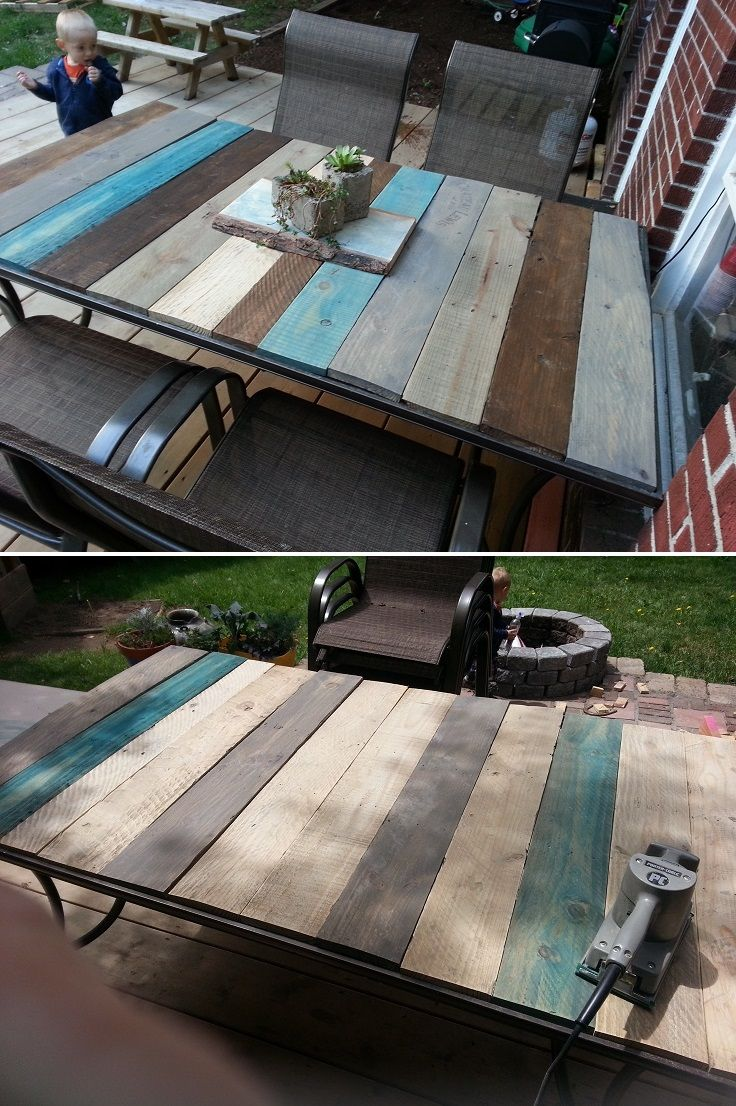 Patio Table Frame with Pallet Boards - 15 Timeless DIY Outdoor Table ...