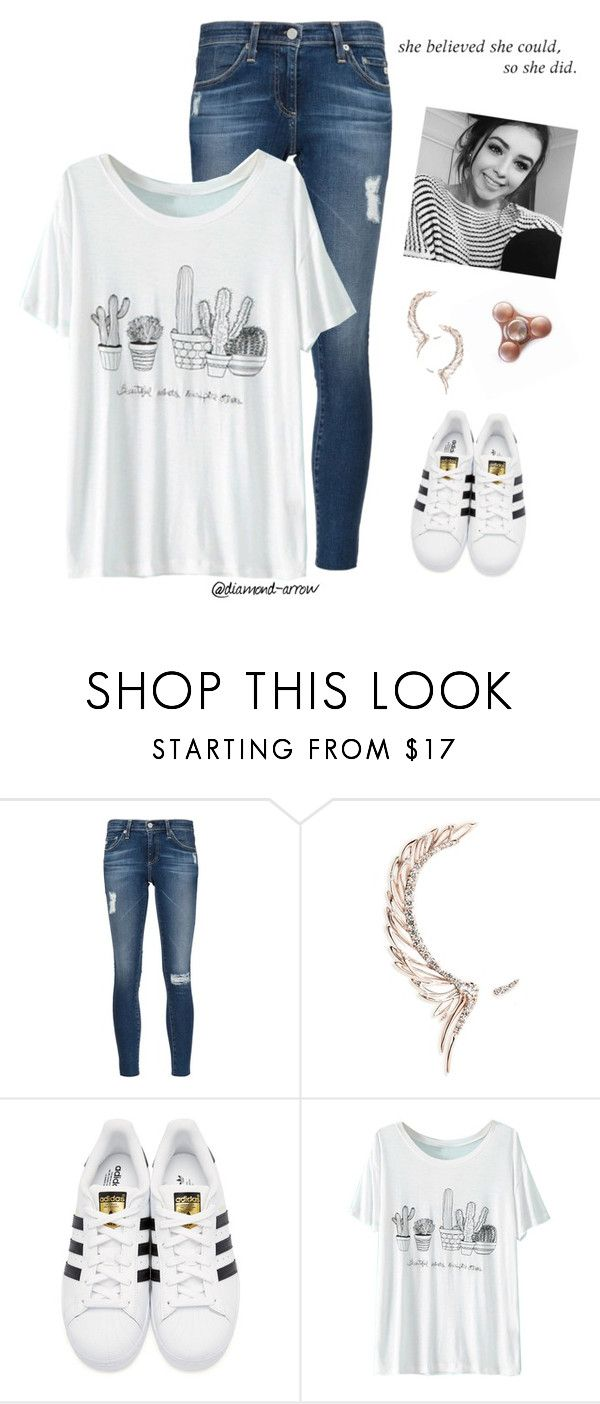 """""""S H E  B E L I E V E D"""" by diamond-arrow ❤ liked on Polyvore featuring AG Adriano Goldschmied, Cristina Ortiz, adidas Originals and WithChic"""