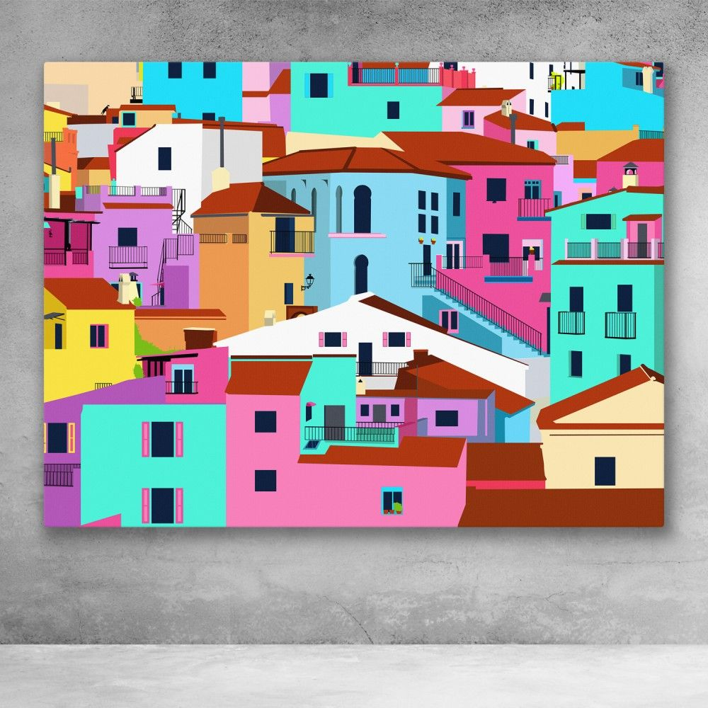 Amalfi Coast Town Colorful Pop Art Canvas Wall Art Pop Art Canvas Amalfi Coast Towns Pop Art