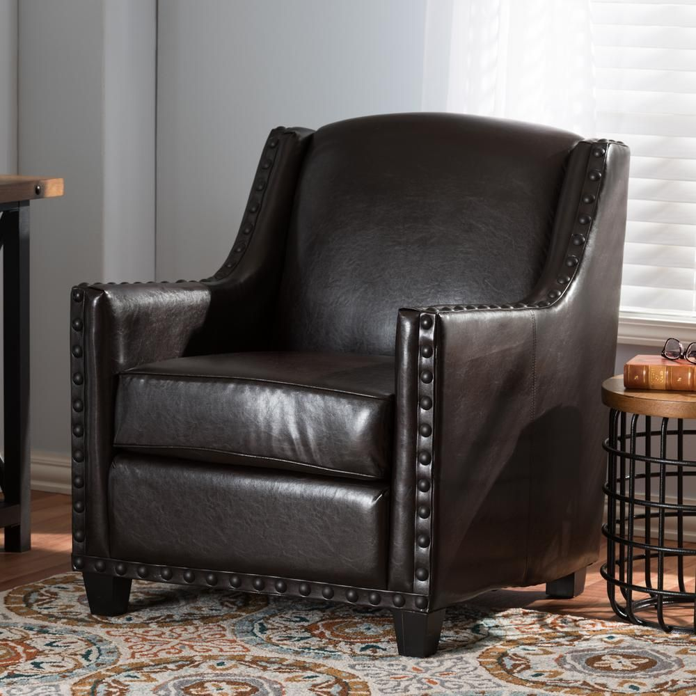 Baxton Studio Wallace Dark Brown Faux Leather Upholstered