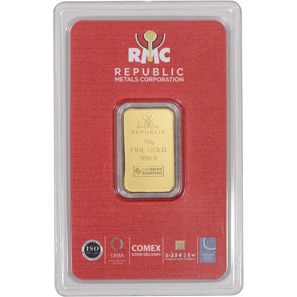 10 Gram Rmc Gold Bar Republic Metals Corp 999 9 Fine In Sealed Assay Gold Bar Gold Bars For Sale Gold