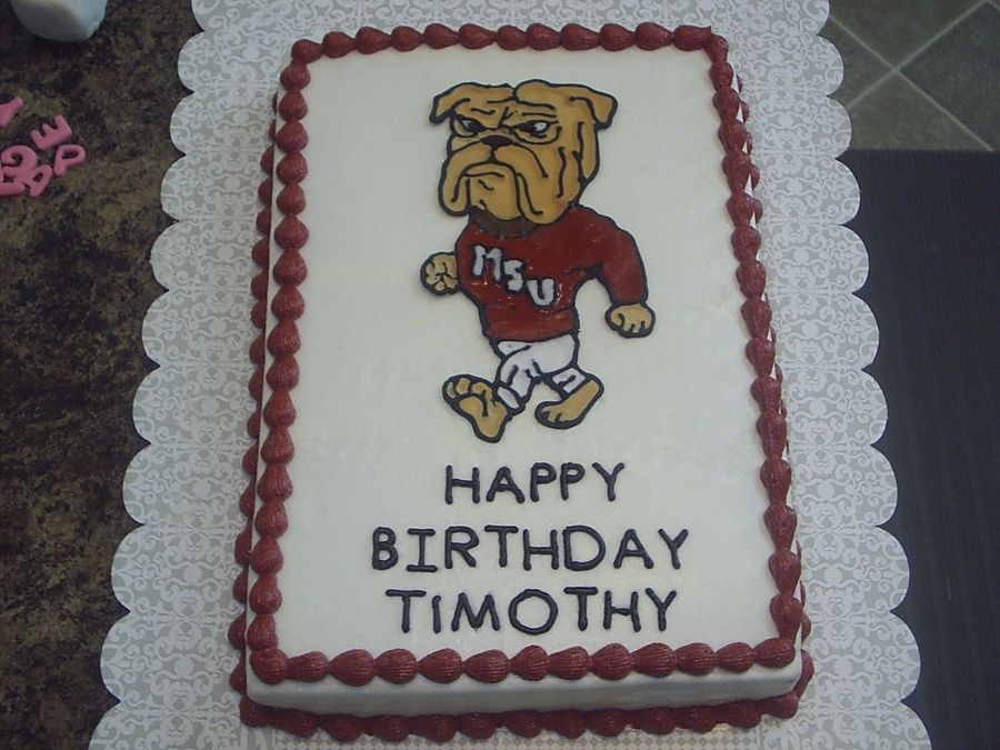 MSUBulldogs French vanilla cake cream cheese icing color flow