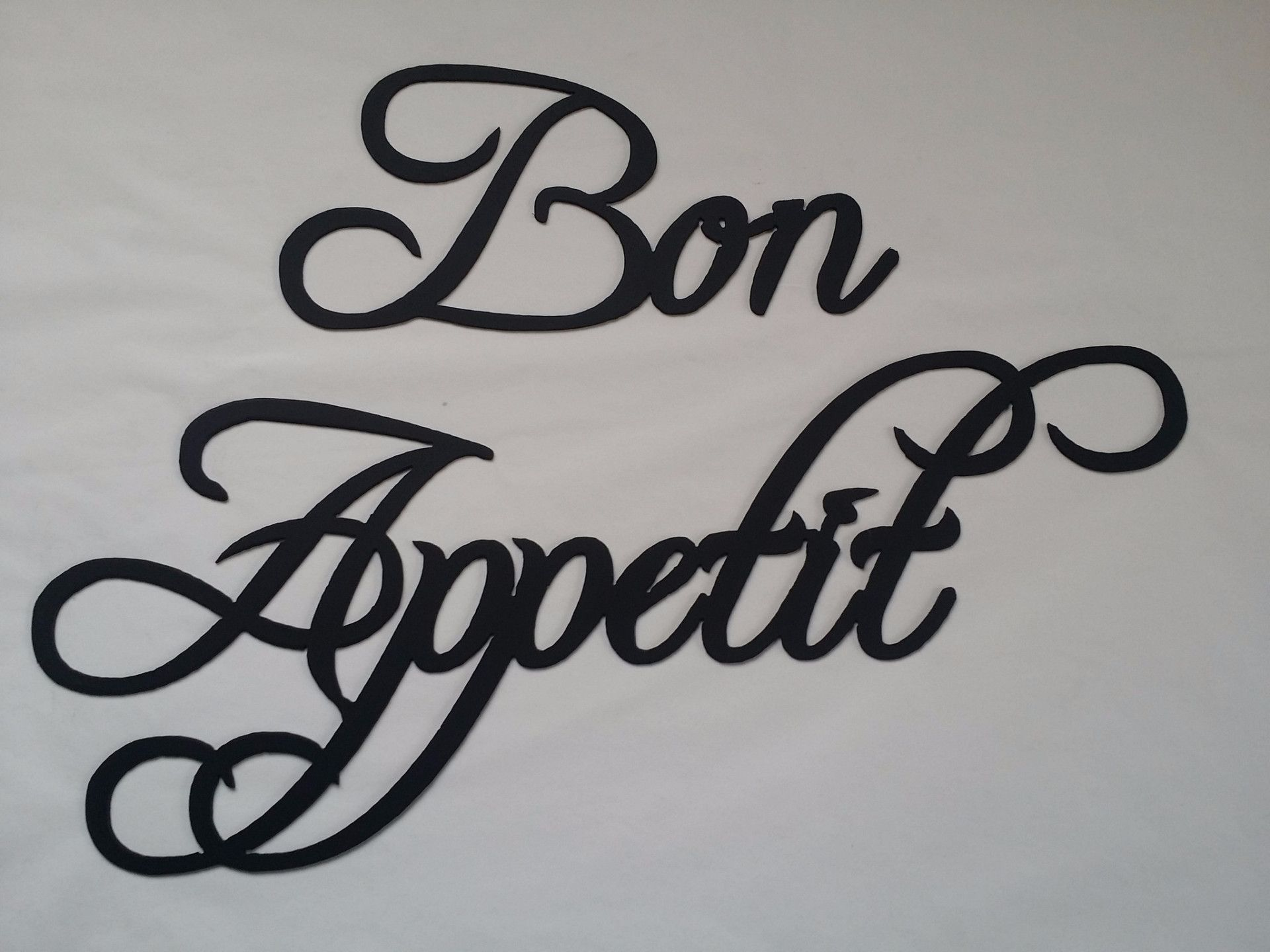 Bon Appetit Words Black Finish Metal Wall Art