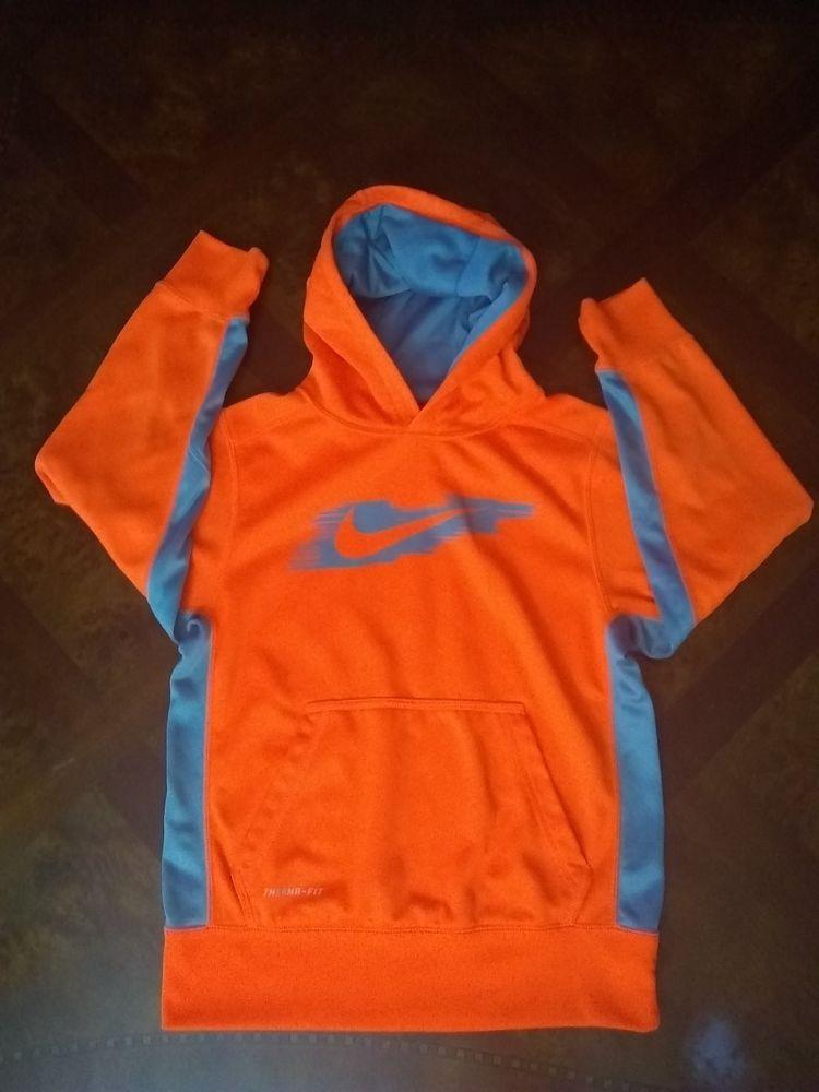 new styles shades of arriving NIKE Boy's Therma-Fit Hoodie Neon Orange Gray Kids Jacket ...