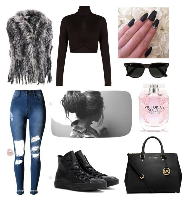 """""""Untitled #2"""" by manuela-pischiutta on Polyvore featuring Wilsons Leather, BCBGMAXAZRIA, Converse, Michael Kors, Victoria's Secret, Ray-Ban and plus size clothing"""