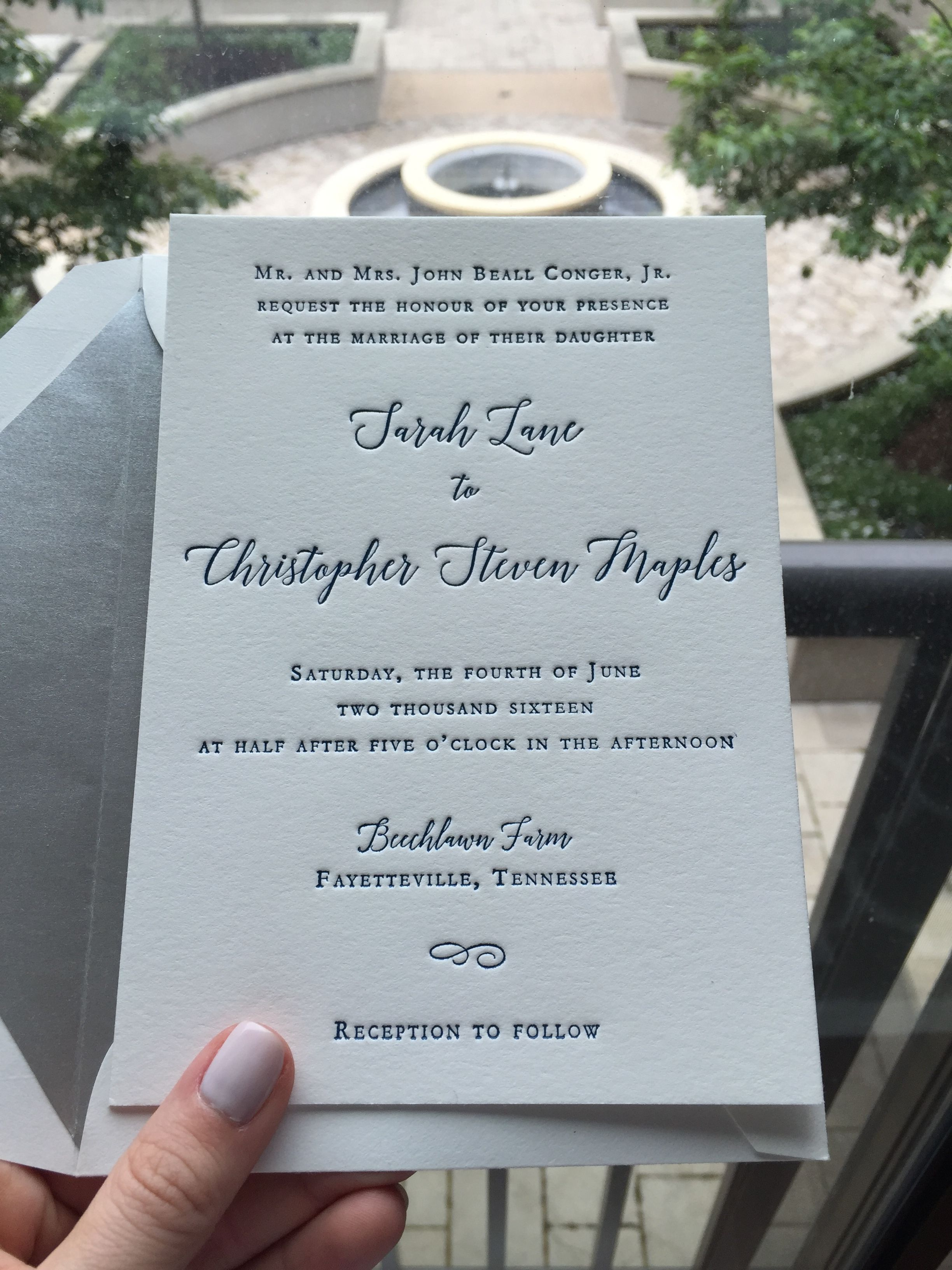 The Adelicia Script Wedding Invitation Letterpressed On Cotton Paper Silver Envelope Liner