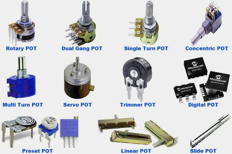 Different Types Of Potentiometers Resistors Different Types Electronics Components