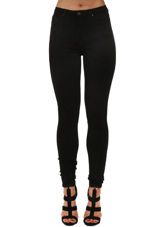 Toxik3 L185 Women/'s High Waist Skinny Jeans Black