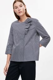 COS image 2 of Blouse with bow in Blue