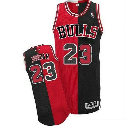8b2c1972d244 NBA Chicago Bulls Men  23 Michael Jordan split jersey black red ...