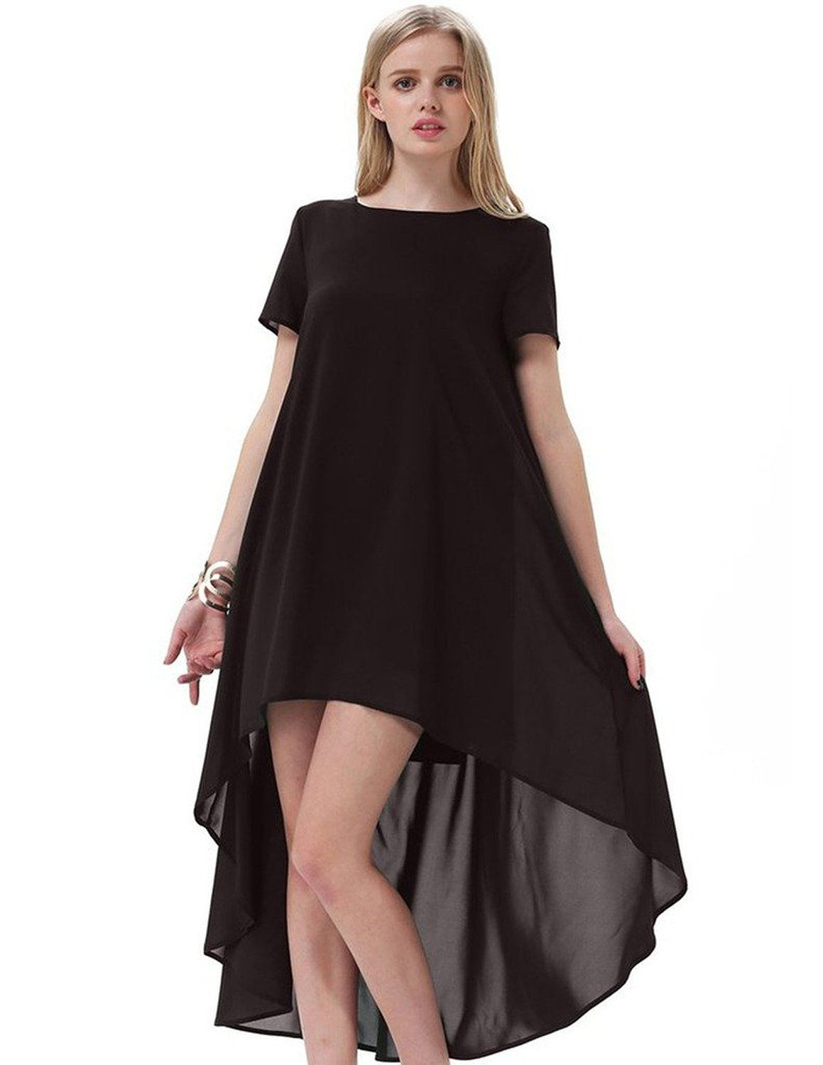ef8eaf738a Topfar Womens Front Short Back Long Short Sleeve Loose Chiffon Dress Black  -- Awesome products selected by Anna Churchill