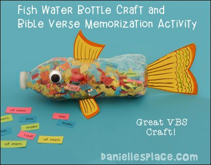vacation bible school crafts ideas fish water bottle craft and bible verse memorization 7282