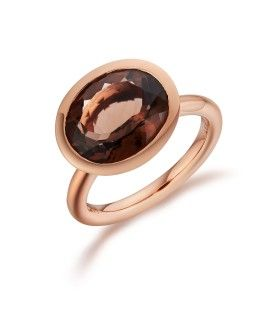 4.62 Carat Smoky Quartz Ring in 18K Yellow Gold