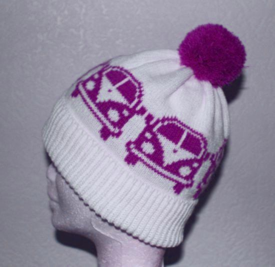 for Amy - White Pompom Beanie Hat with VW Bus Camper Vans in a by lemarousse, €12.50