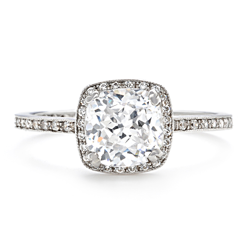 featuring a square shaped mounting with an exquisitely thin pave diamond band this classic engagement ring - Square Diamond Wedding Rings