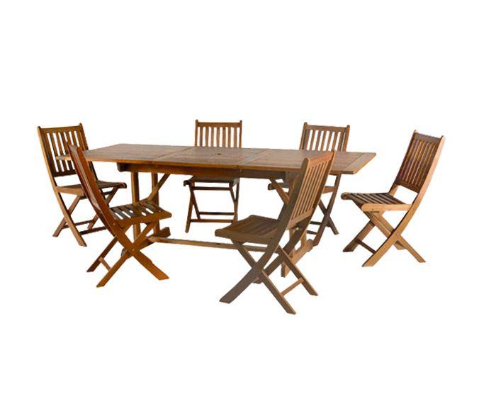 Conjunto de comedor exterior formado por seis sillas y mesa ...