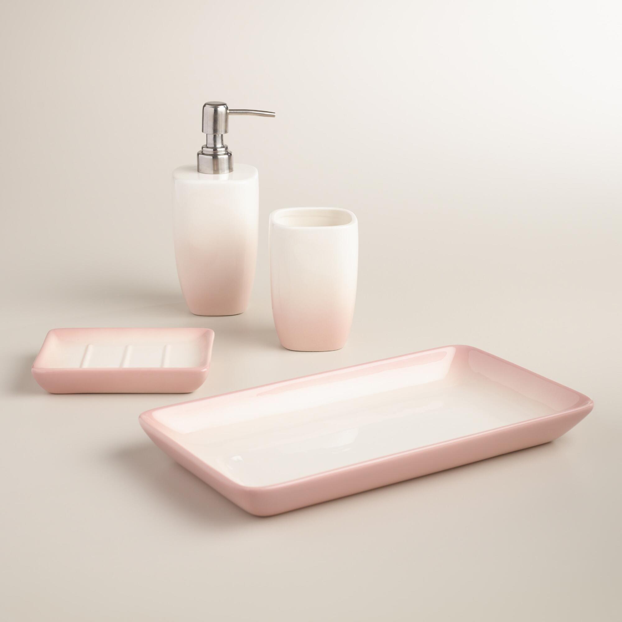 Blush Ombre Ceramic Bath Accessories Collection Pink Bathroom