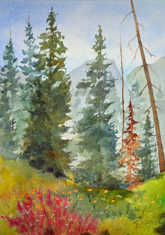 Fine Art Painting Original Landscape Aspen Tree Painting Original Watercolor Painting Landscape Mountain Forest Painting Gallery Art Landscape Paintings Forest Painting Fine Art Painting