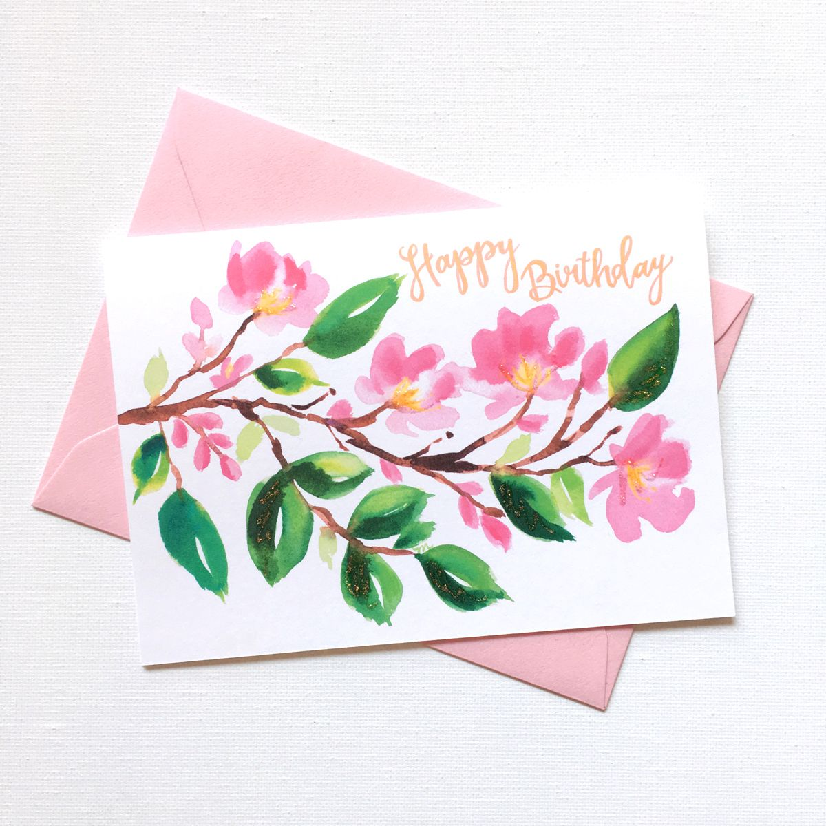 Painterly Cherry Blossom Birthday Card Watercolor Birthday Cards
