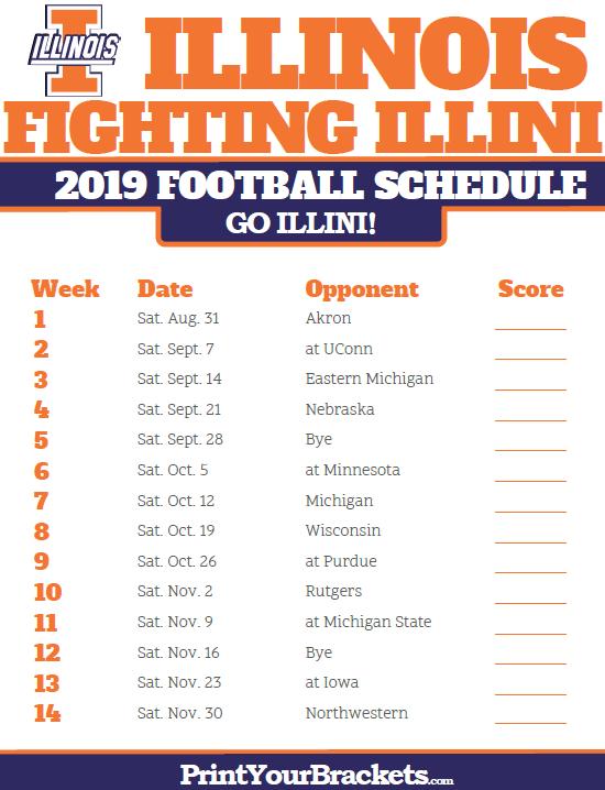 Illini Football Schedule 2019 Printable Illinois Fighting Illini Football Schedule   Printable