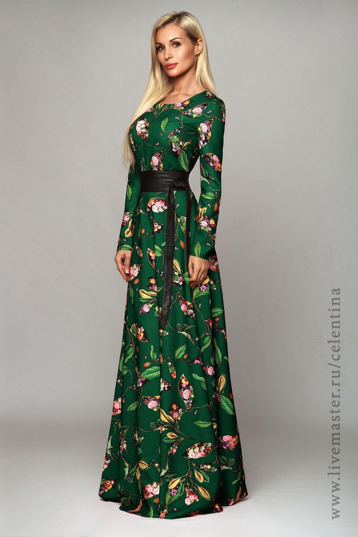 4340e211c7e6142 Купить Длинное платье, зеленое нарядное платье, осеннее вечернее платье в  пол - тёмно-зелёный