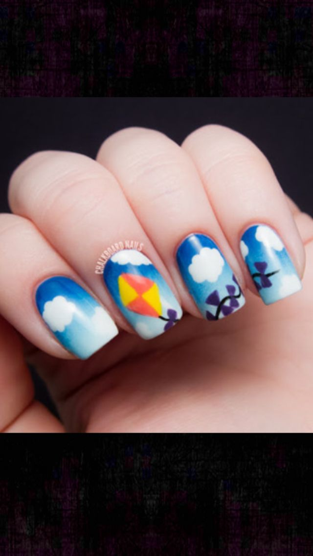 Kite in the clouds nails | Nails - Cloud | Pinterest | Kites and ...