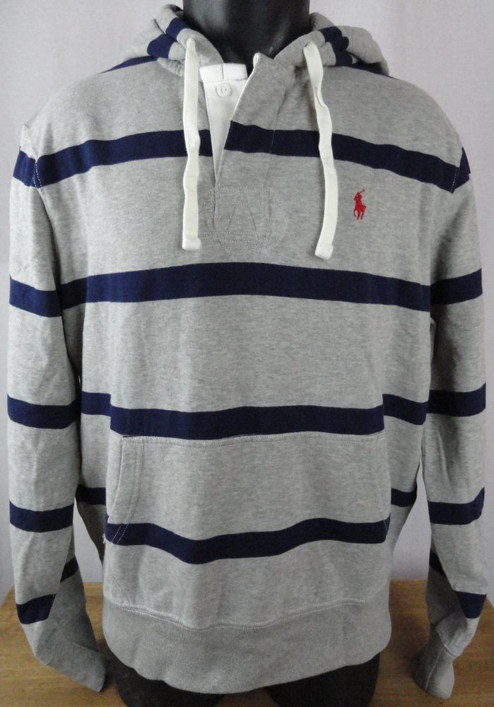 NWT Polo Ralph Lauren Mens L Hoodie Sweatshirt Gray Blue Striped Pullover  LS New #PoloRalphLauren
