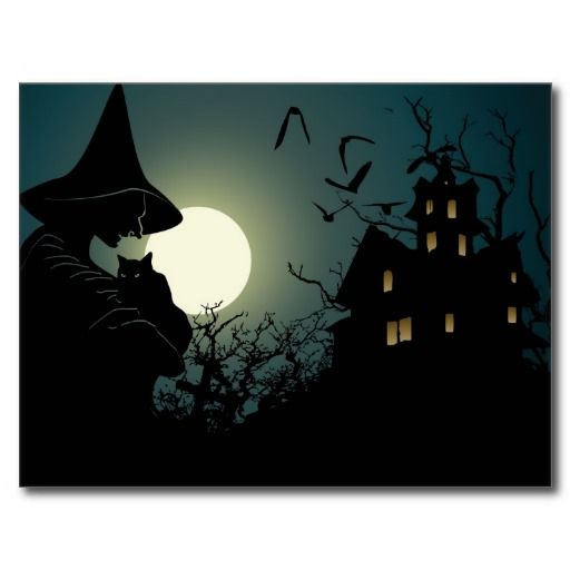 Halloween witch and hounted house postcard Witches, Haunted - halloween haunted house ideas