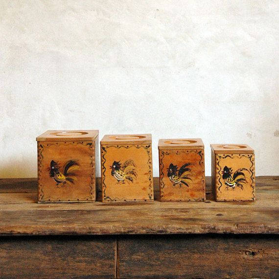 Mid Century Kitchen Canisters Wood Rooster Jars Vintage Wood Antiques Primitive Living Room