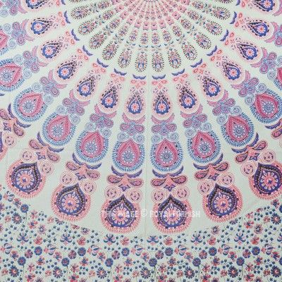 Blend of Pink & White Peacock Wings Psychedelic Mandala Tapestry