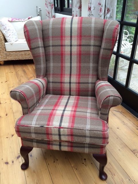 Parker Knoll 720 Wingback   Professional Reupholstered   Balmoral Fabric ( Rosso)