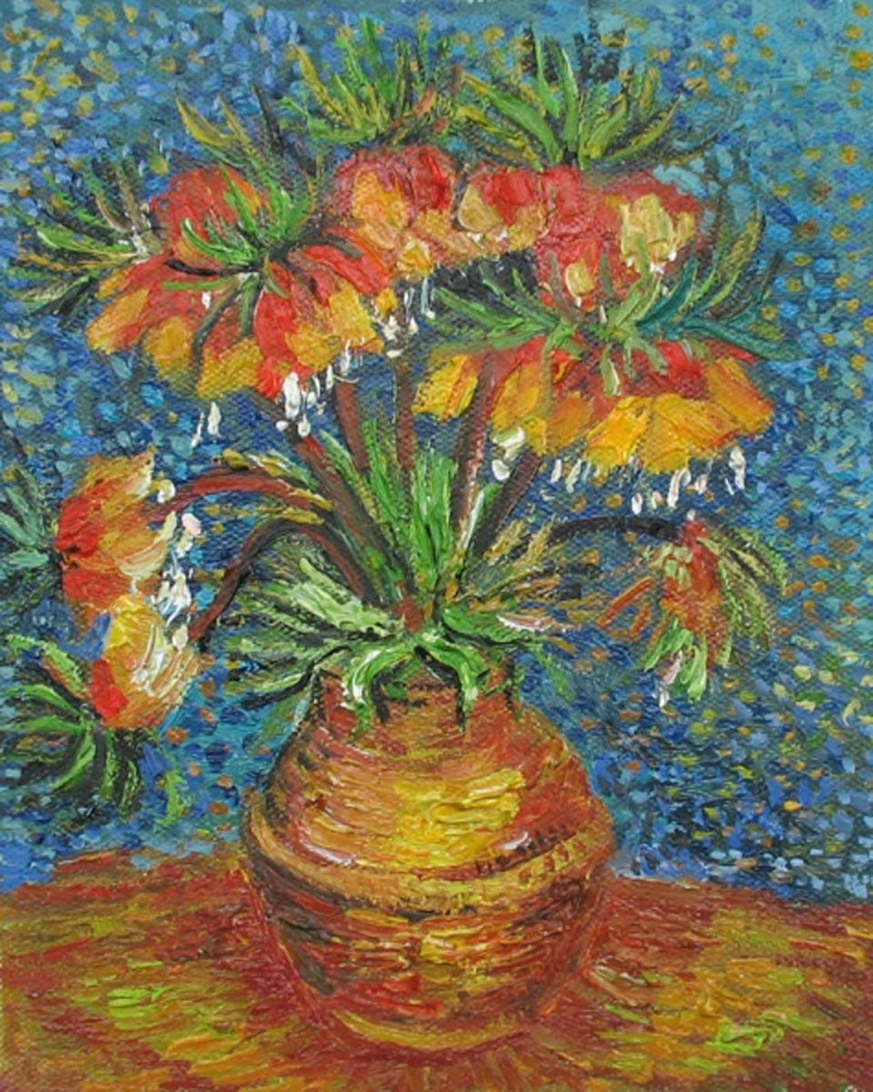 Crown imperial fritillaries in a copper vase oil