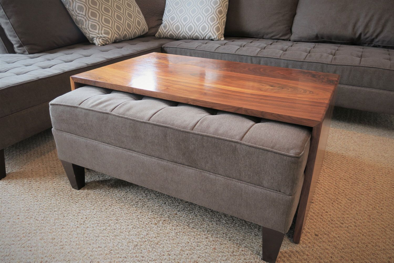 Superbe Waterfall Wood Coffee Table, Ottoman Coffee Table, Ottoman Tray Table, Mid  Century Modern
