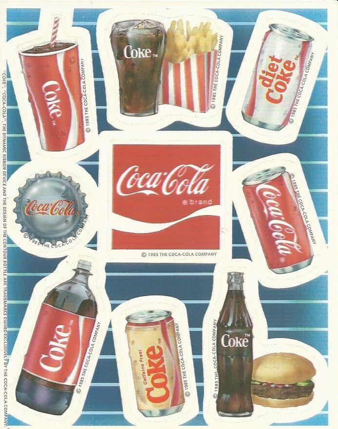 vintage 80 s hallmark coca cola sticker sheet coke pinterest