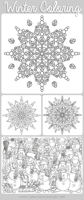 Winter Doodle Coloring Pages  free coloring printables featuring