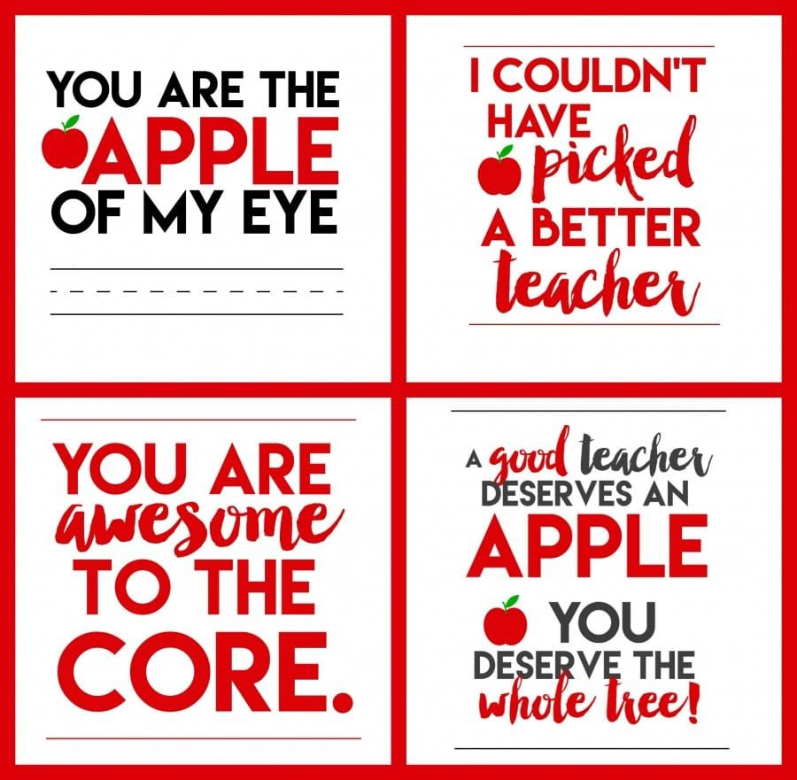 picture about Free Printable Teacher Appreciation Quotes named Free of charge Apple for Instructor Printables Trainer appreciation